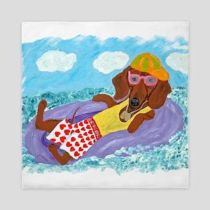 Dachshund Lazy Lifeguard Queen Duvet