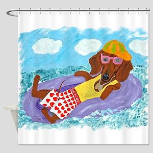 Dachshund Lazy Lifeguard Shower Curtain