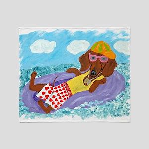 Dachshund Lazy Lifeguard Throw Blanket