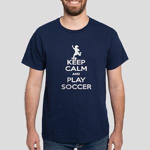 Keep Calm Play Soccer - Girl Dark T-Shirt