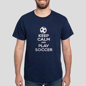 Keep Calm and Play Soccer - Ball Dark T-Shirt