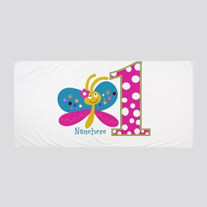 Butterfly First Birthday Beach Towel