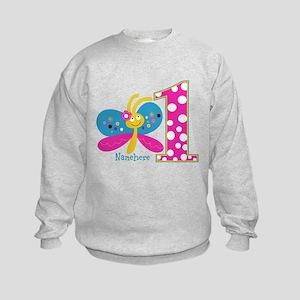 Butterfly First Birthday Kids Sweatshirt