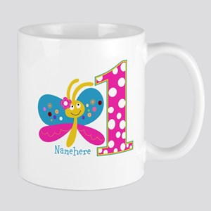 Butterfly First Birthday Mug