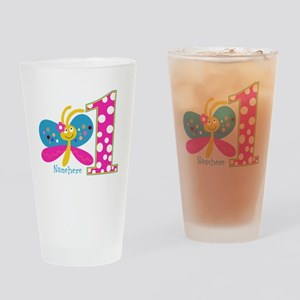 Butterfly First Birthday Drinking Glass