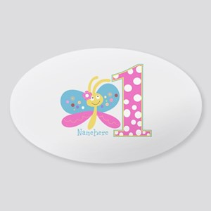 Butterfly First Birthday Sticker (Oval)