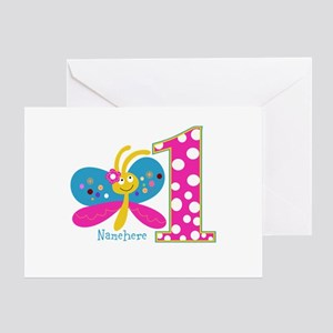 Butterfly First Birthday Greeting Card