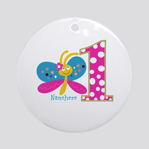 Butterfly First Birthday Ornament (Round)