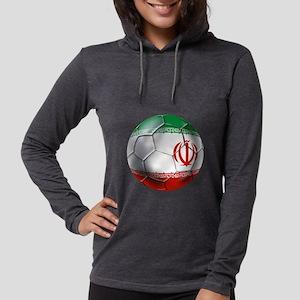 Iran Soccer Ball Womens Hooded Shirt