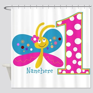 Butterfly First Birthday Shower Curtain