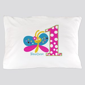 Butterfly First Birthday Pillow Case