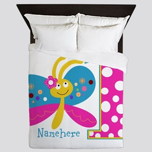 Butterfly First Birthday Queen Duvet