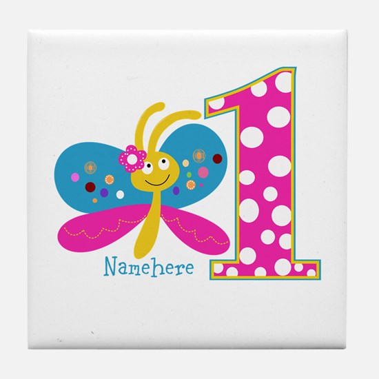 Butterfly First Birthday Tile Coaster