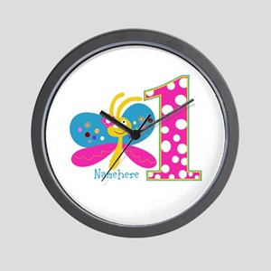 Butterfly First Birthday Wall Clock