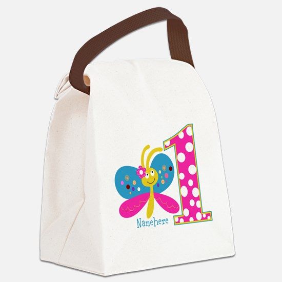 Butterfly First Birthday Canvas Lunch Bag