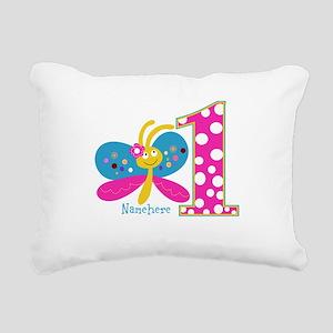 Butterfly First Birthday Rectangular Canvas Pillow