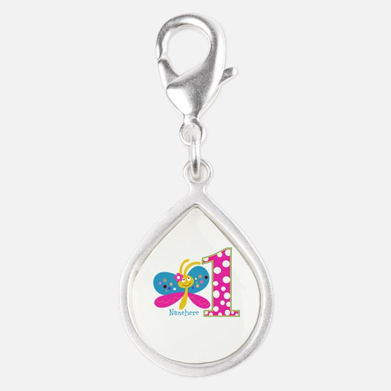 Butterfly First Birthday Silver Teardrop Charm