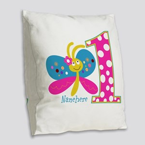Butterfly First Birthday Burlap Throw Pillow
