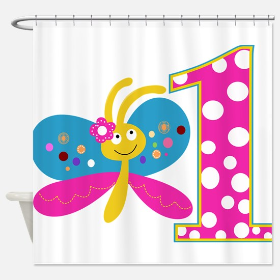 Girly Butterfly First Birthday Shower Curtain