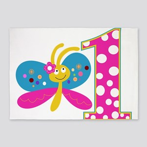 Girly Butterfly First Birthday 5'x7'Area Rug