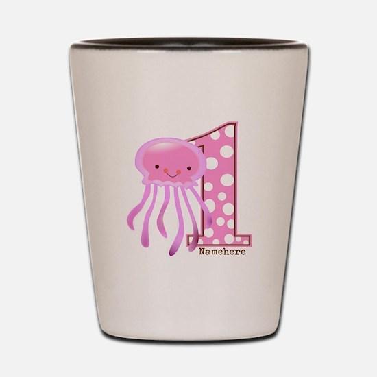 Pink Jelly Fish First Birthday Shot Glass
