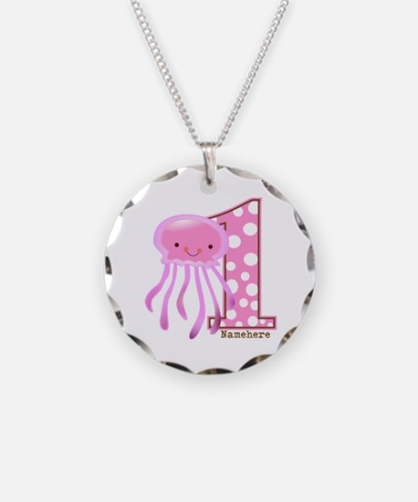 Pink Jelly Fish First Birthday Necklace