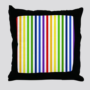 Retro Rainbow Stripes Throw Pillow