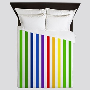 Retro Rainbow Stripes Queen Duvet