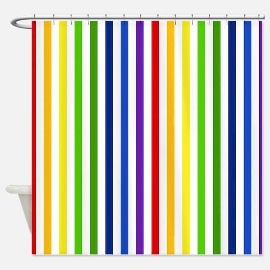 Retro Rainbow Stripes Shower Curtain