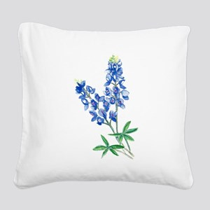Watercolor Bluebonnet 1 Square Canvas Pillow