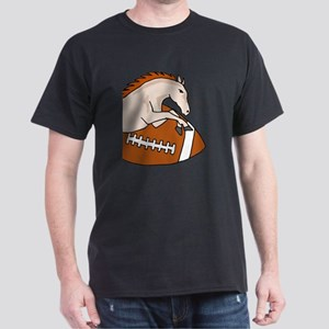 Leaping Horse or Bronco on Football Dark T-Shirt