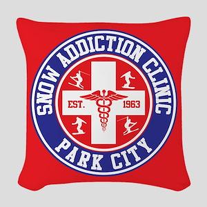 Park City Snow Addiction Clinic Woven Throw Pillow