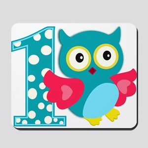First Birthday Happy Owl Mousepad