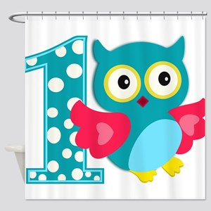 First Birthday Happy Owl Shower Curtain