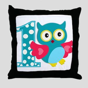 First Birthday Happy Owl Throw Pillow