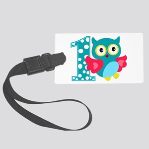 First Birthday Happy Owl Large Luggage Tag