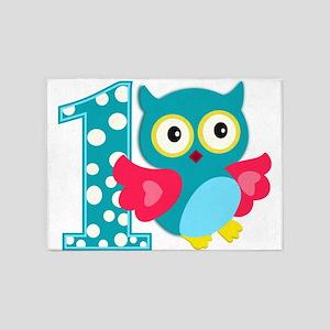 First Birthday Happy Owl 5'x7'Area Rug