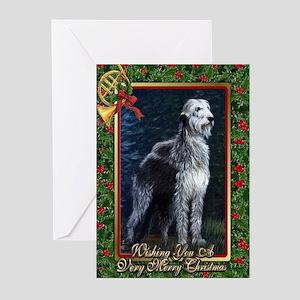 Irish Wolfhound Dog Christmas Greeting Cards (Pk o