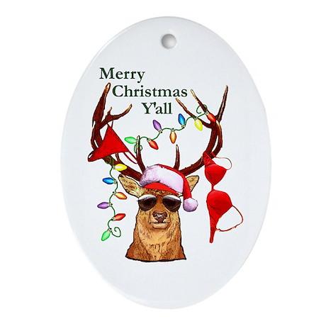 Bubba Deer Christmas Oval Ornament