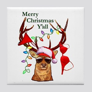 Bubba Deer Christmas Tile Coaster