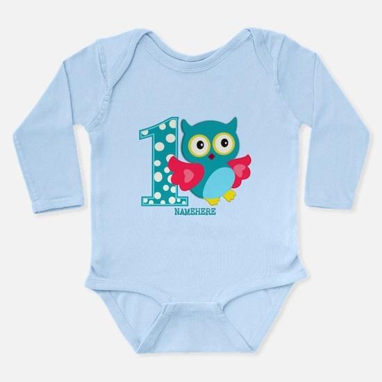 Cute First Birthday Owl Long Sleeve Infant Bodysui