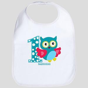 Cute First Birthday Owl Bib