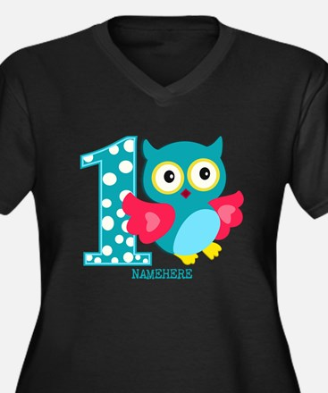 Cute First Birthday Owl Women's Plus Size V-Neck D