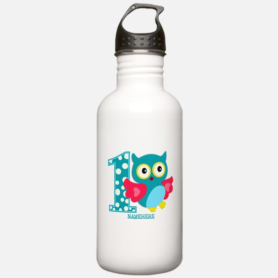 Cute First Birthday Owl Water Bottle