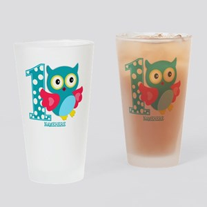 Cute First Birthday Owl Drinking Glass