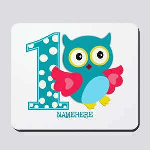 Cute First Birthday Owl Mousepad