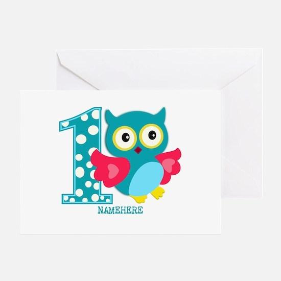 Cute First Birthday Owl Greeting Card