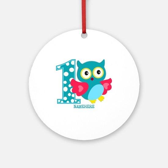 Cute First Birthday Owl Ornament (Round)