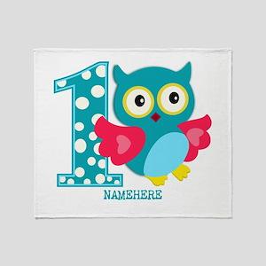 Cute First Birthday Owl Throw Blanket