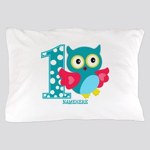 Cute First Birthday Owl Pillow Case